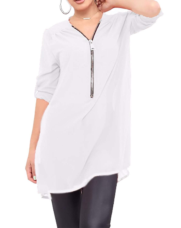 Rimi Hanger Womens Fold Over Sleeve Zip Front Chiffon Top Ladies Fancy Party Wear T Shirt S,M,L