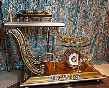 Luxury French Home Dining Room Golden Food Service Trolley Classic Decorative Wooden Tea