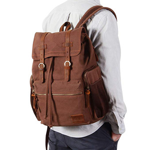 Wholesale extra large anti-thief pocket pocket located brown backpack hiking travel bag
