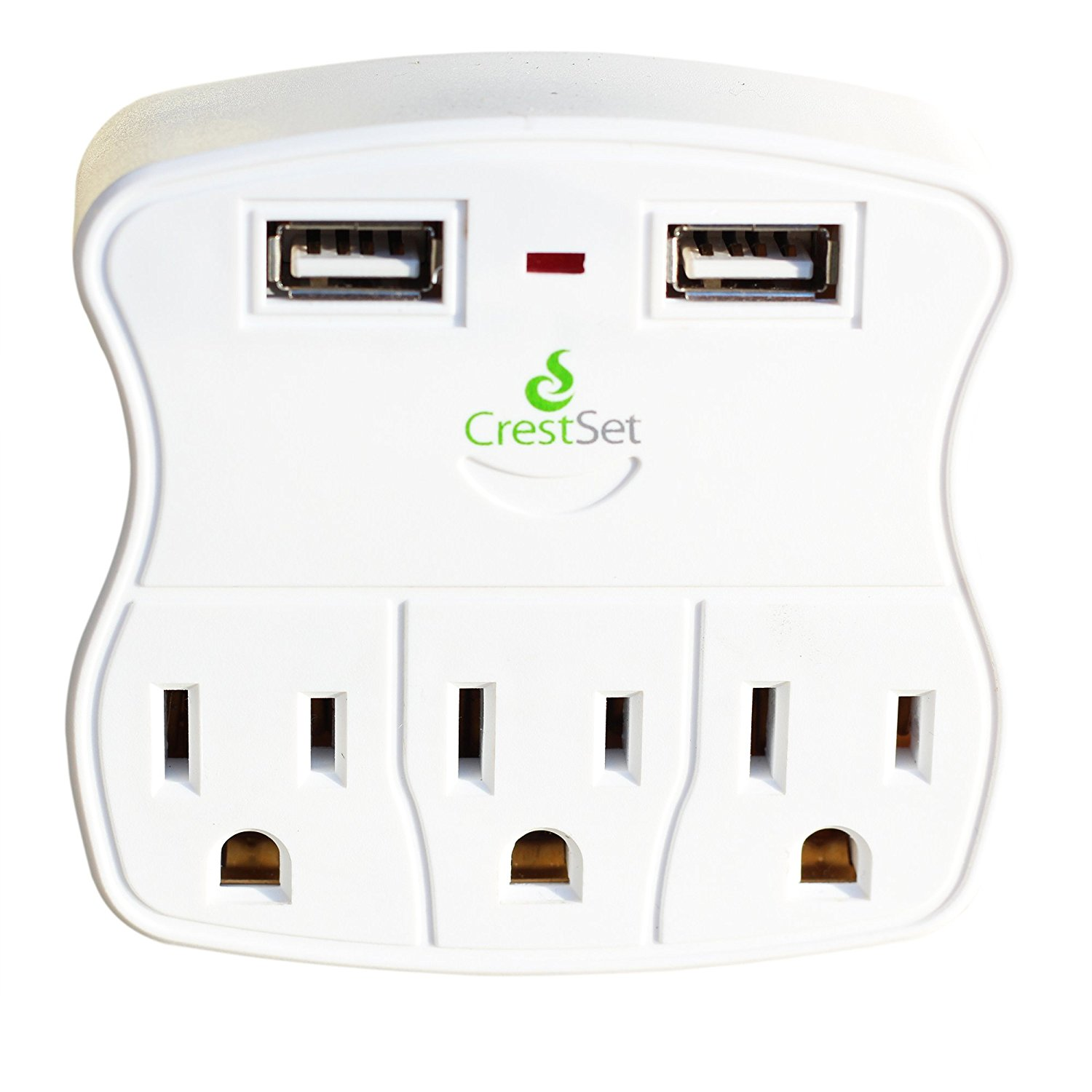 Portable USB Wall Outlet — Features 2 USB Ports 3 AC Ports - 5-Outlet Power Strip - Mini Travel Plugin - Charge iPhones, iPads, Laptops, Tablets, Bathroom Accessories and More - by CrestSet