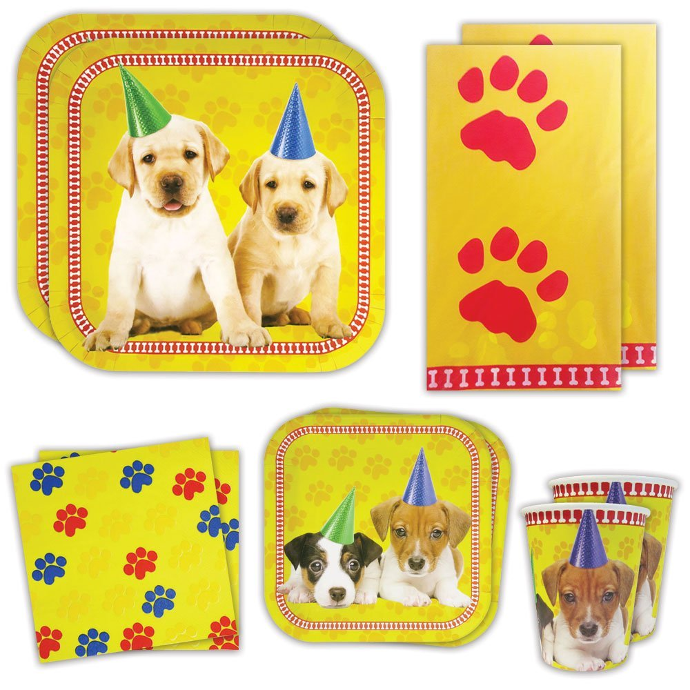 Blue Orchards Puppy Deluxe Party Packs (70 Pieces for 16 Guests!), Puppy Party Supplies, Puppy Decorations, Birthday Tableware