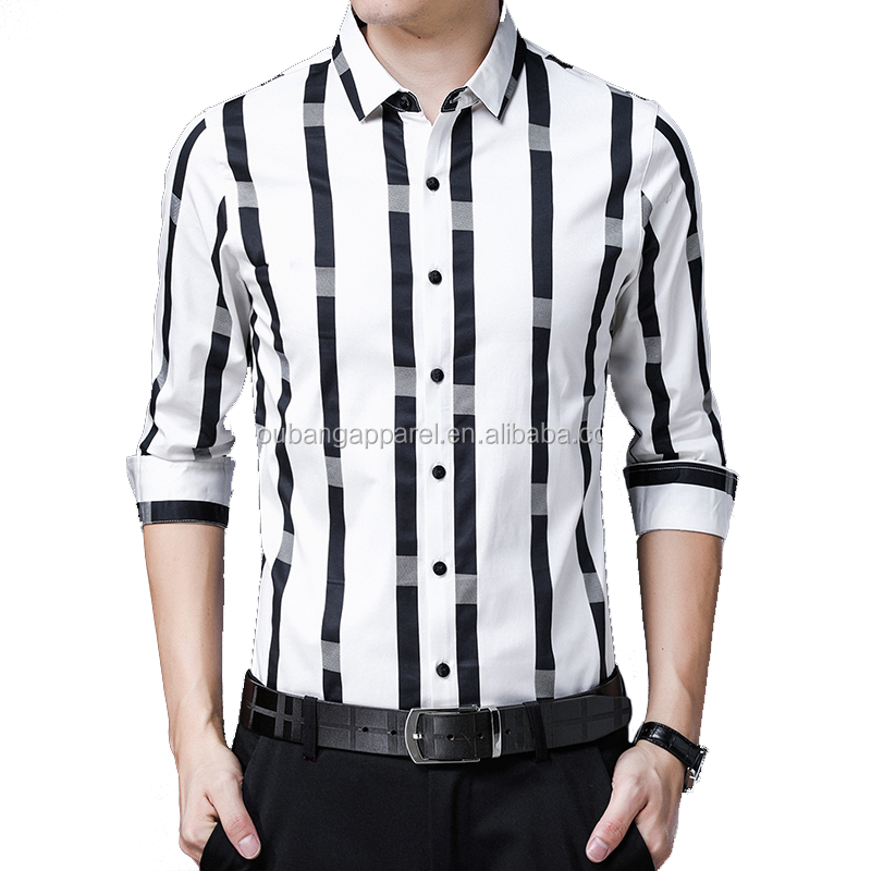 hot sale formal style long sleeve white and black stripe loose fit man's cotton shirt