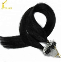 Wholesale price Italian keratin best quality 100% European virgin human hair double beads micro loop ring hair extension
