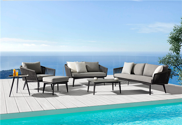 In stock high quality garden dining set outdoor furniture sofa chair with cushions