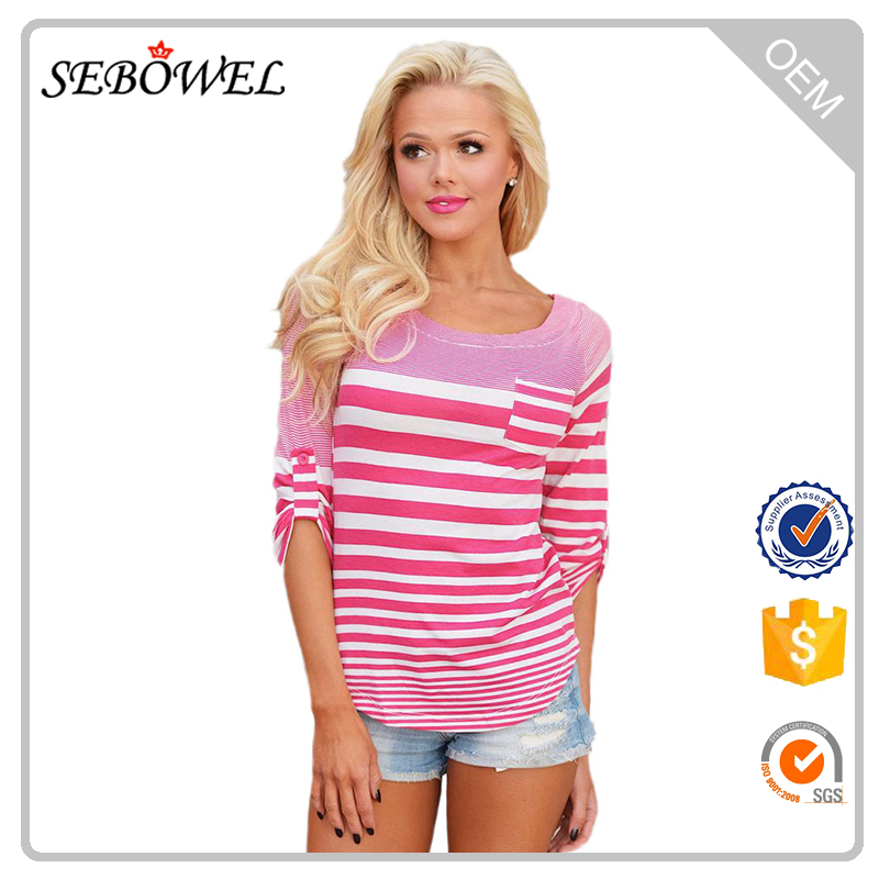 Wholesale Pink White Striped Long Sleeve Woman Blouse with Pocket
