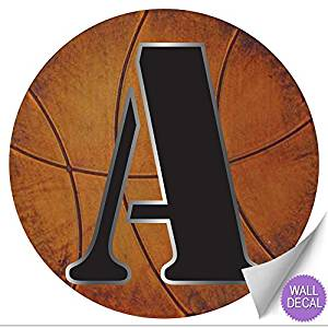 """Wall Letters """"A"""" Basketball Letter Stickers Alphabet Initial Vinyl Sticker Kid Decals Children Room Decor Baby Nursery Boys Bedroom Decorations Child Names Personalized Decal Graphic Sports Balls Girl"""