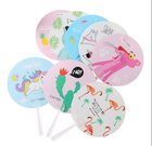 Children's hand fan portable round plastic fan cartoon or Custom design for summer Promotional gifts fan