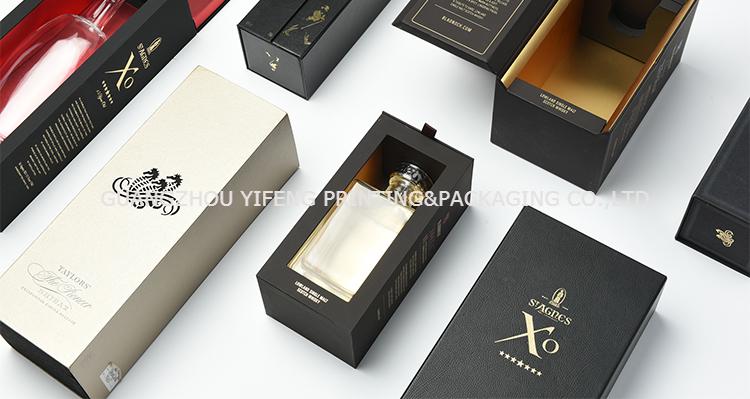Nero Singolo Cartone Carta Scatole di Imballaggio di Vino con OEM design