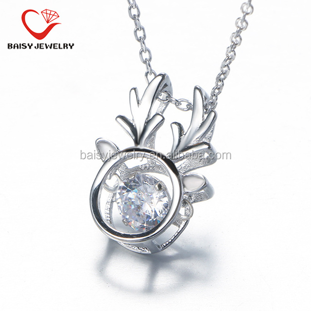 shiny fashion new style christmas gift deer sterling pure silver necklace with dancing stone for girls