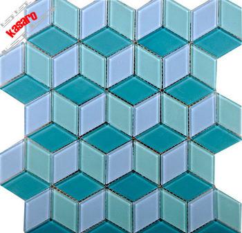 swimming pool tile blue rhombus glass mosaic tile for bathroom, View ...
