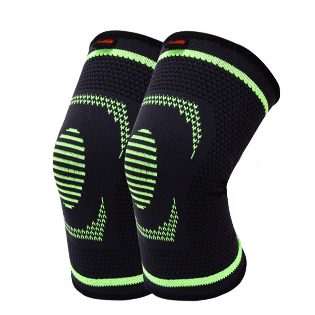 RenShiMinShop Knee Pads Kneepad Outdoor Fitness Protective Gear Sports Knee Pads Warm Breathable Knee Pads high Elastic Anti-Slip Knee Pads 2 Pack (Color : Black+Green, Size : XL)
