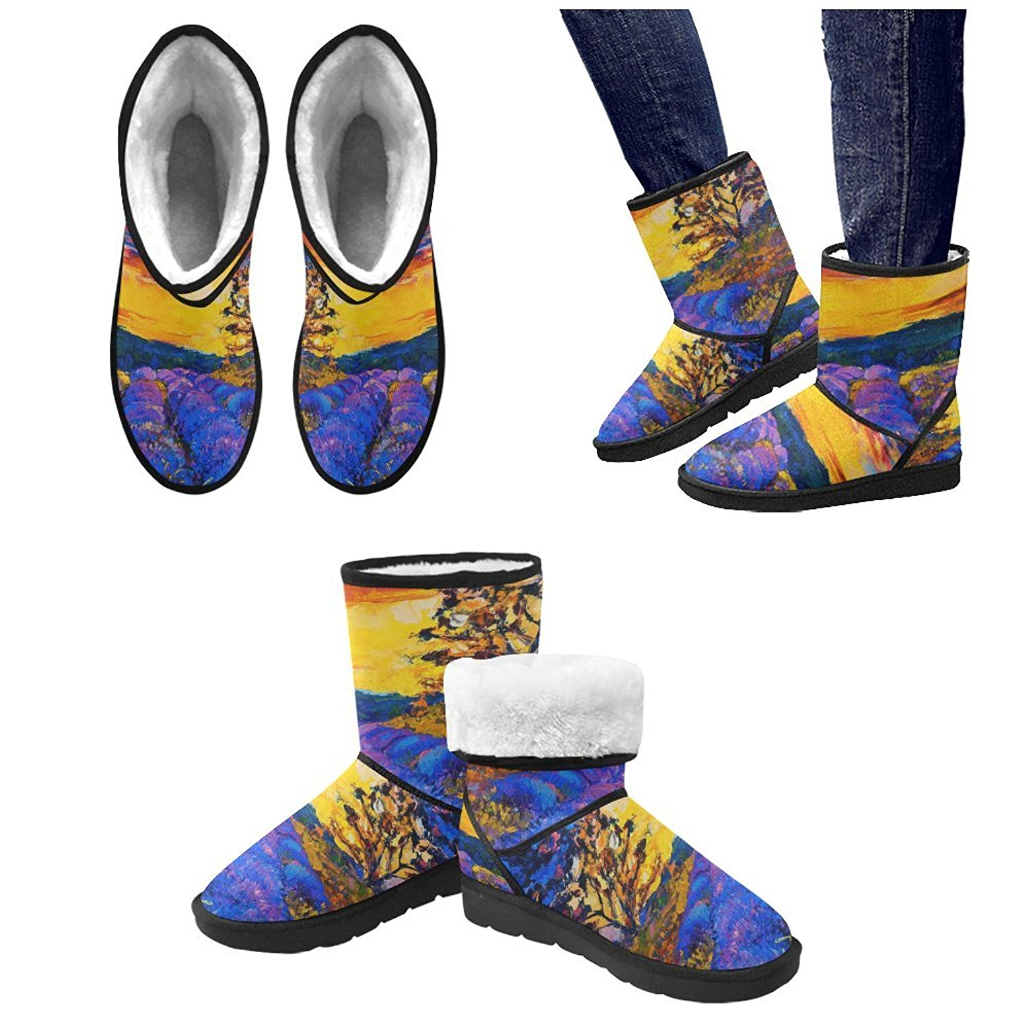 ca8206d5a6d Get Quotations · Artsadd Winter Boots Beautiful Lavender Field At Sunset  Unisex Snow Boots