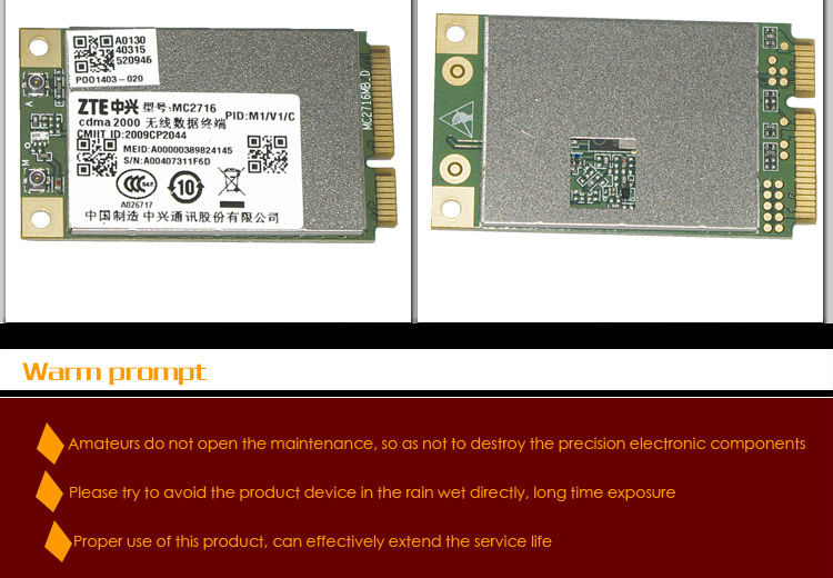 zte 3g module mc2716/mc2718 EVDO/SMS/DATA mini pci module