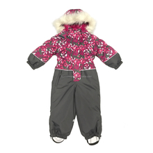 kids reflective padded waterproof printed one piece ski overall with fur hood