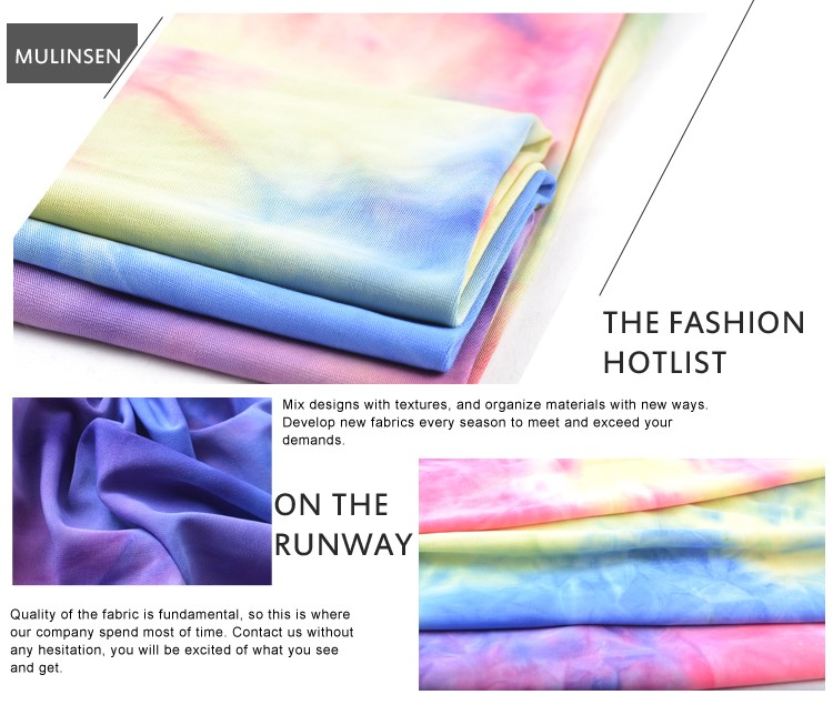 New Fashion Knit FDY Polyester Spandex Jersey Colorful Rainbow Tie Dye Fabric For Dress