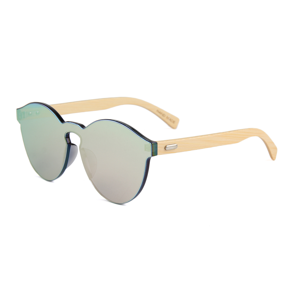 Direct deal one-piece mirror lenses temple bamboo flat sunglasses фото