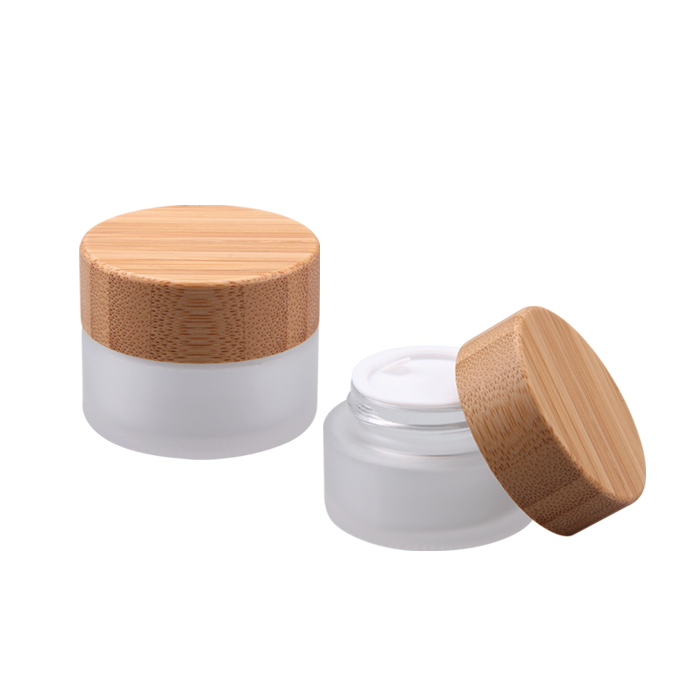 50g bamboo cream cosmetic frosted glass jar with bamboo lids