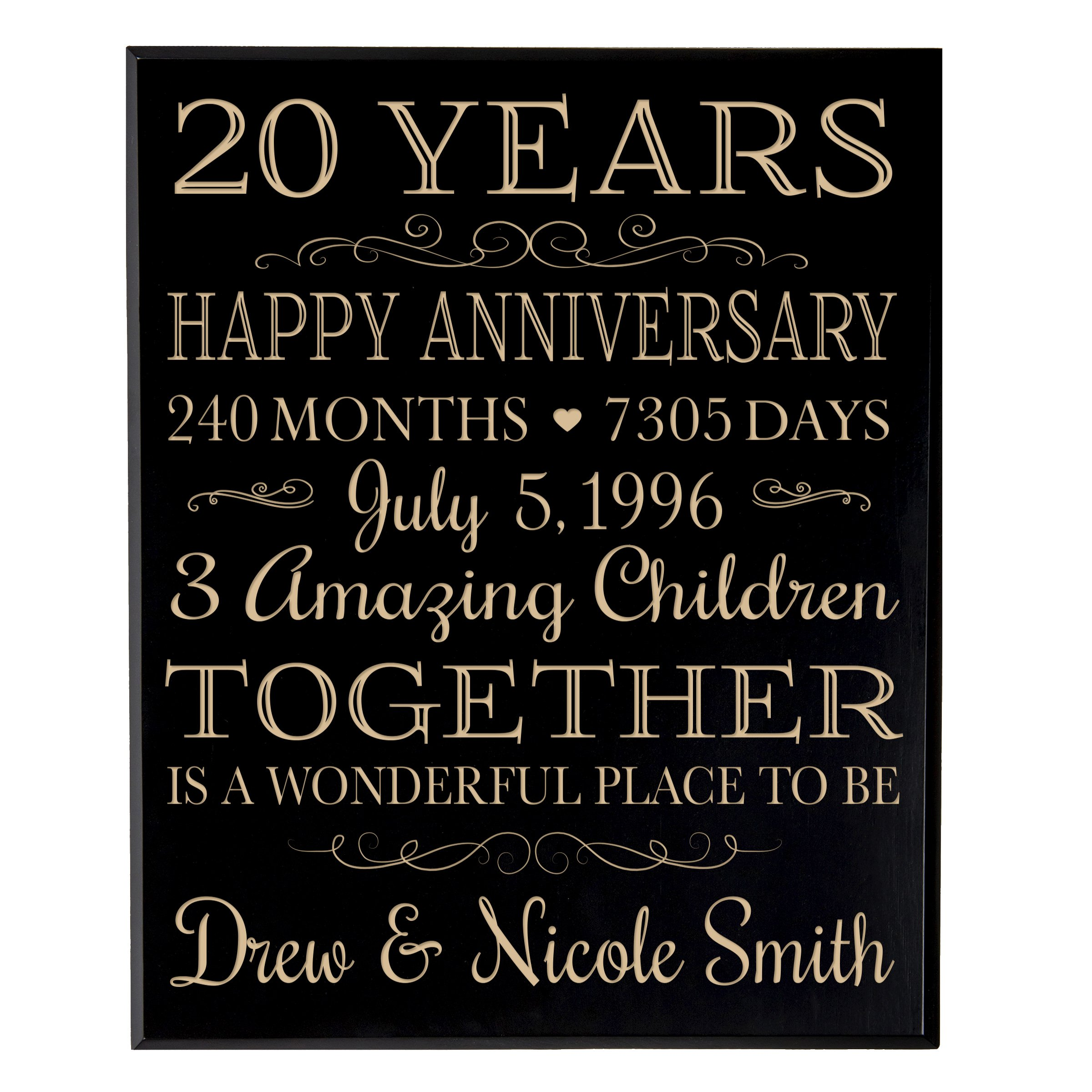 """Personalized 20th Wedding Anniversary Gift ideas for Couple, 20 year Anniversary Gifts Custom Engraved Family established Dates to Remember 12"""" W X 15"""" H By Dayspring Milestones (Black Maple Veneer"""