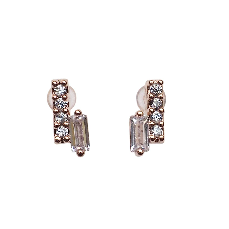 Miyabi Grace Women's Comfortable Minimalist Bar Simple Cubic Zirconia Crystal Invisible Clip On Stud Earrings Rose gold tone