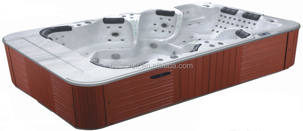 Factory supply deluxe outdoor rectangular swim spa, pop-up tv swim spa 8 - 12 person hot tub