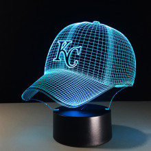 Nieuwigheid MBL Kansas City Chiefs Royals Baseball Cap Illusion LED Nachtlampje Kleurrijke Hologram 3D Bureaulamp voor Thuis Decor gifs