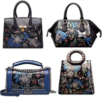 2017 PU embossed flower pattern leather handbag