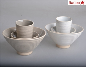 Speckled beige white noodle bowl rice bowl and cup