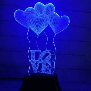 Zogift 2019 hot gifts 3D lamp wedding gifts 3d creative three heart love led colorful night light