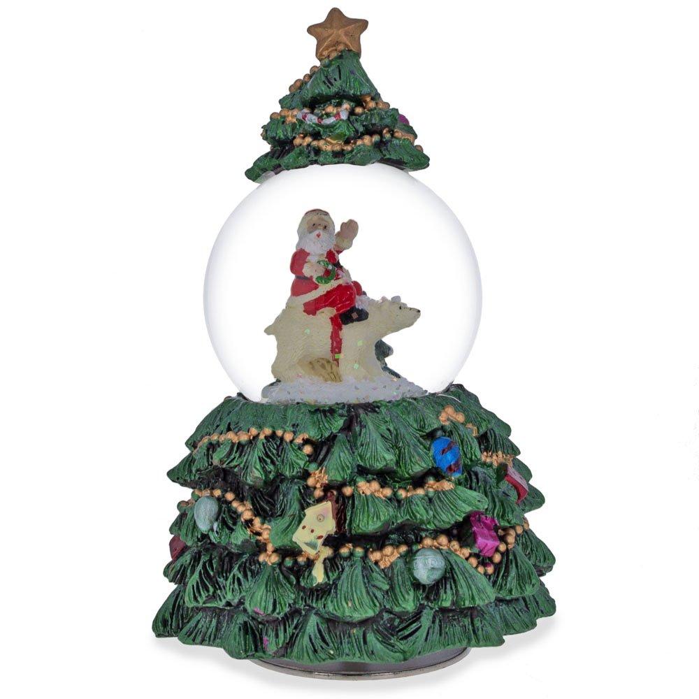 get quotations 6 santa and polar bear in rotating christmas tree musical snow globe
