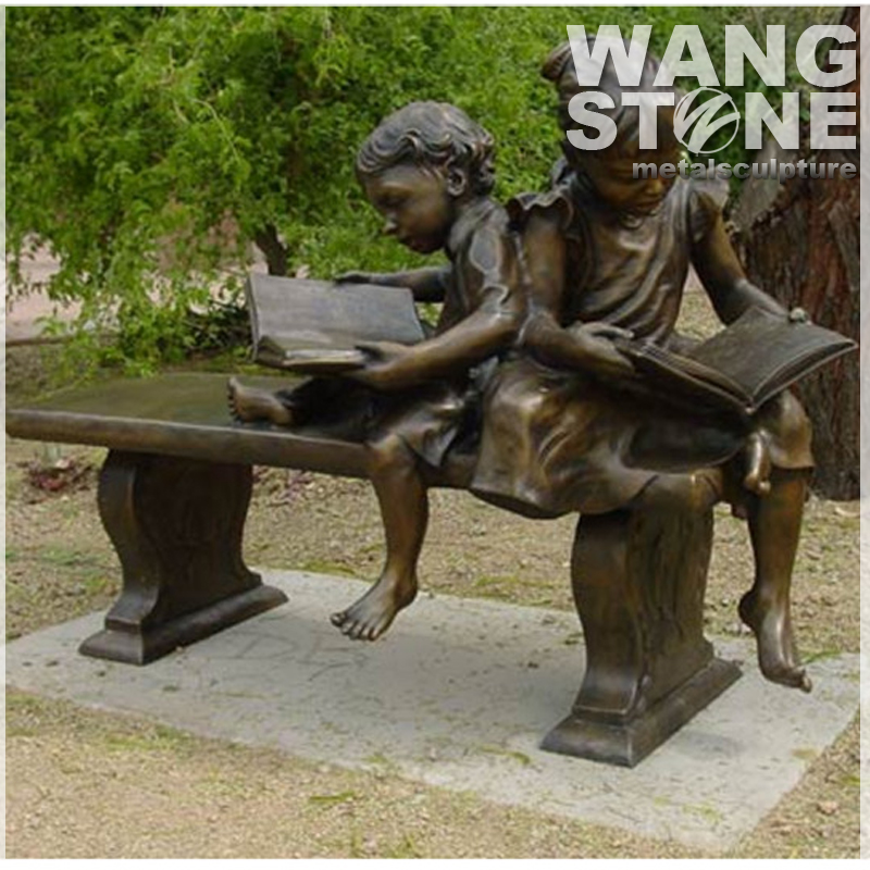 Bronze Sitting Children Reading Book Statue For Garden