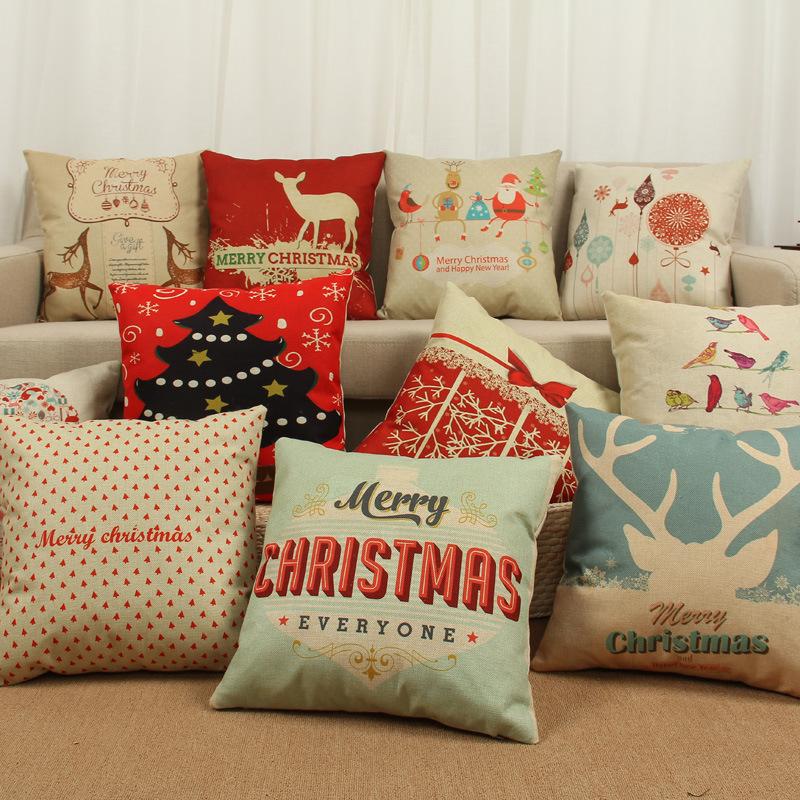 45cm Merry Christmas New Year Fashion Cotton Linen Fabric Pillow Hot Sale 18 Inch New Home Decor Sofa Car Cushion Office Nap HL