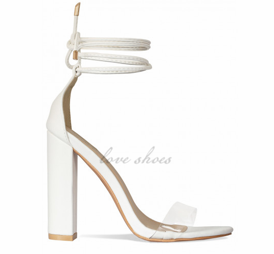 Ladies White Clear Lace Up Block Heels