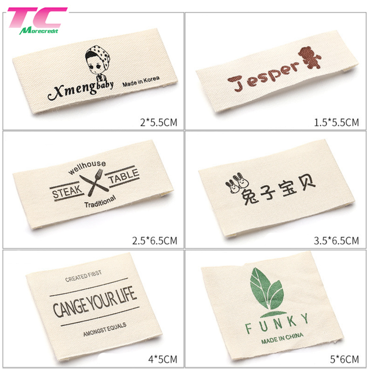Series Customized Clothing Damask Woven Label Loop Folded Branding Neck Garment Label