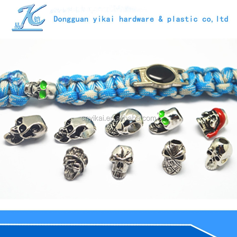 Paracord granos de metal cráneo para paracord pulsera accesorios