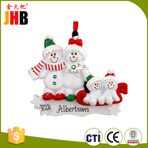 Resin Christmas Snowman Family Names Christmas Ornaments