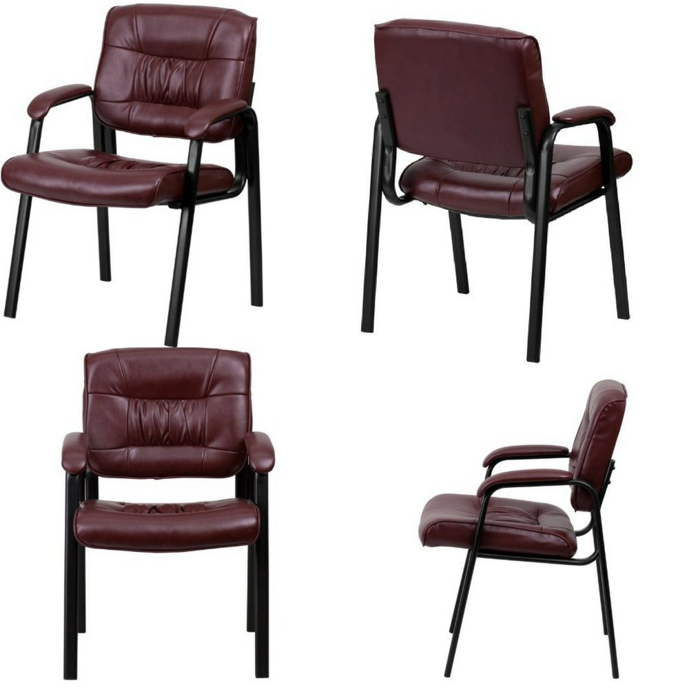 Office Visitor/Guest Chair with Armrests Leather Upholstery Tufted Metal Frame Modern Reception Desk Black Red Comfy Room Chair Guest Office Living Room Furniture eBook by Easy&FunDeals