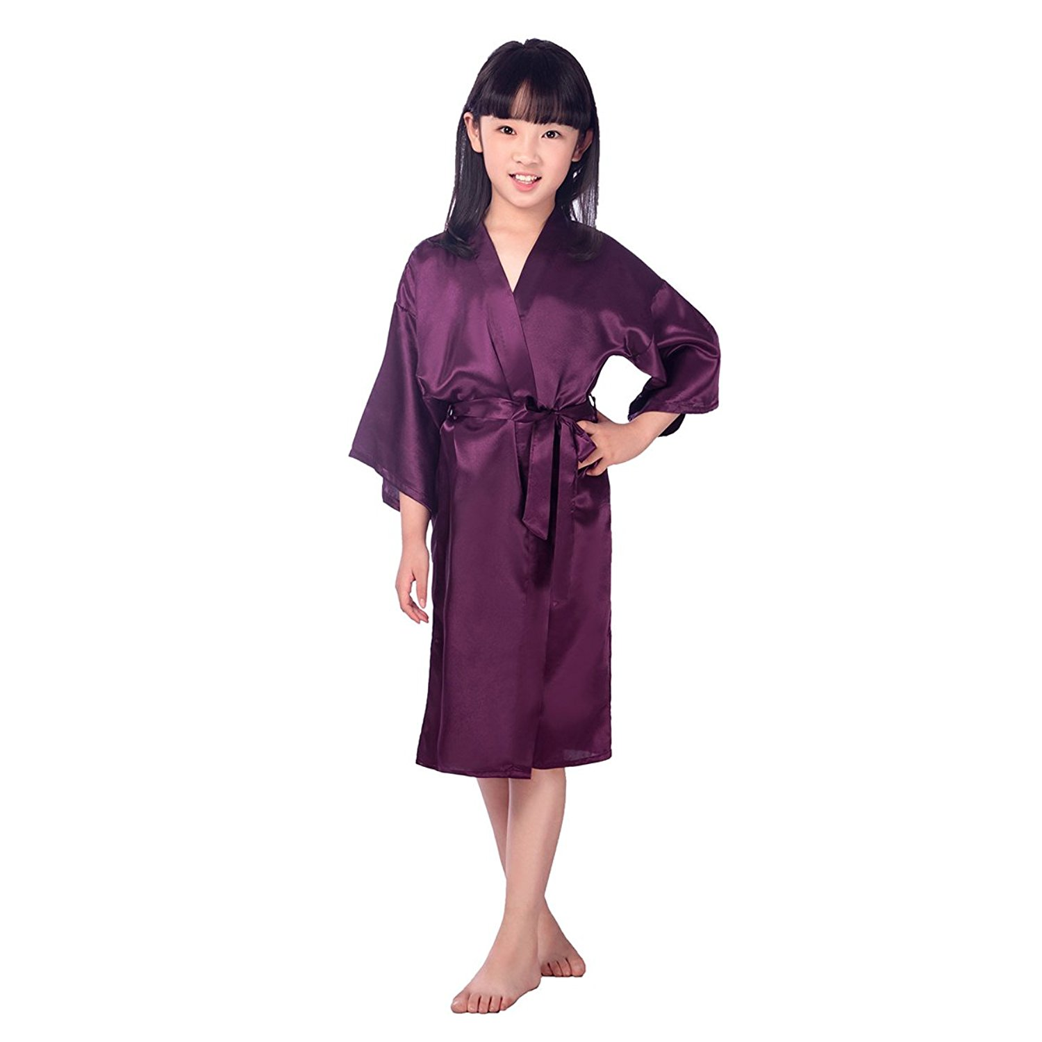 Get Quotations · TINKSKY Kids Satin Kimono Robe Bathrobe Nightgown For Spa  Party Wedding Birthday For 45-51 23ab93f00