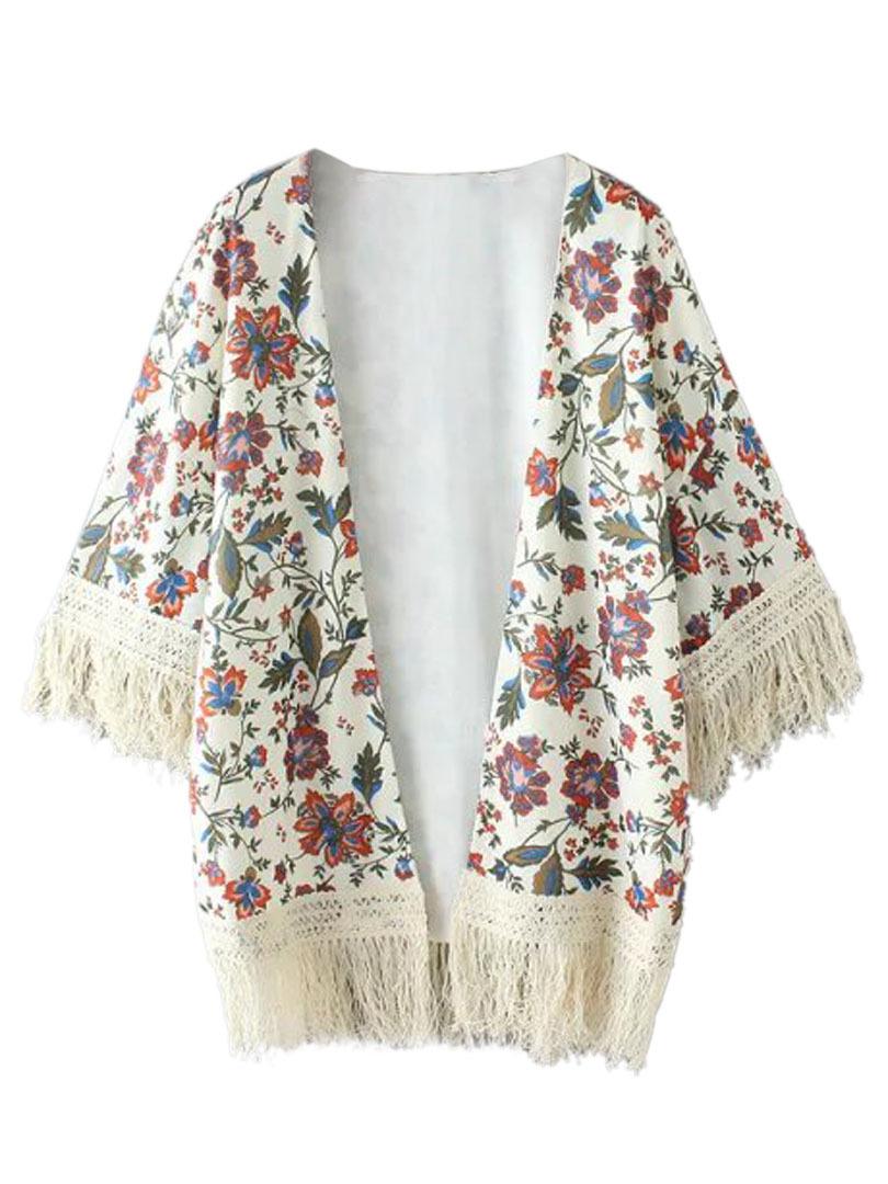c42ff17b6aa35 2015 Women Kimono Cover Up Half Batwing Sleeve Floral Tassel ...