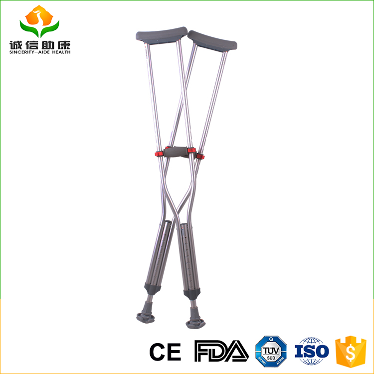 Cheap price OEM / ODM total height 110-119CM silver crutches aluminum alloy