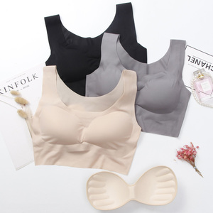 China latest bra designs one piece sports bra no trace vest ice silk brassiere breathable wireless sports bras for women