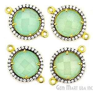 Aqua Chalcedony Black Pave Bezel Round Shape Connector, 12mm Round Black Plated, Double Bail.(BPAD-40007)