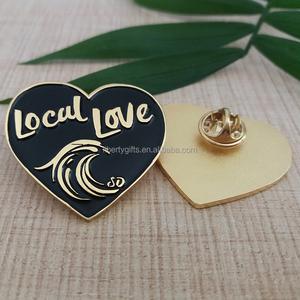 custom heart shaped enamel lapel pin