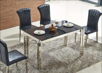 Elegant Stainless Steel Marble Dining Table Chair Combined Tempered Glass Top  Rectangular Dining Table Part 32