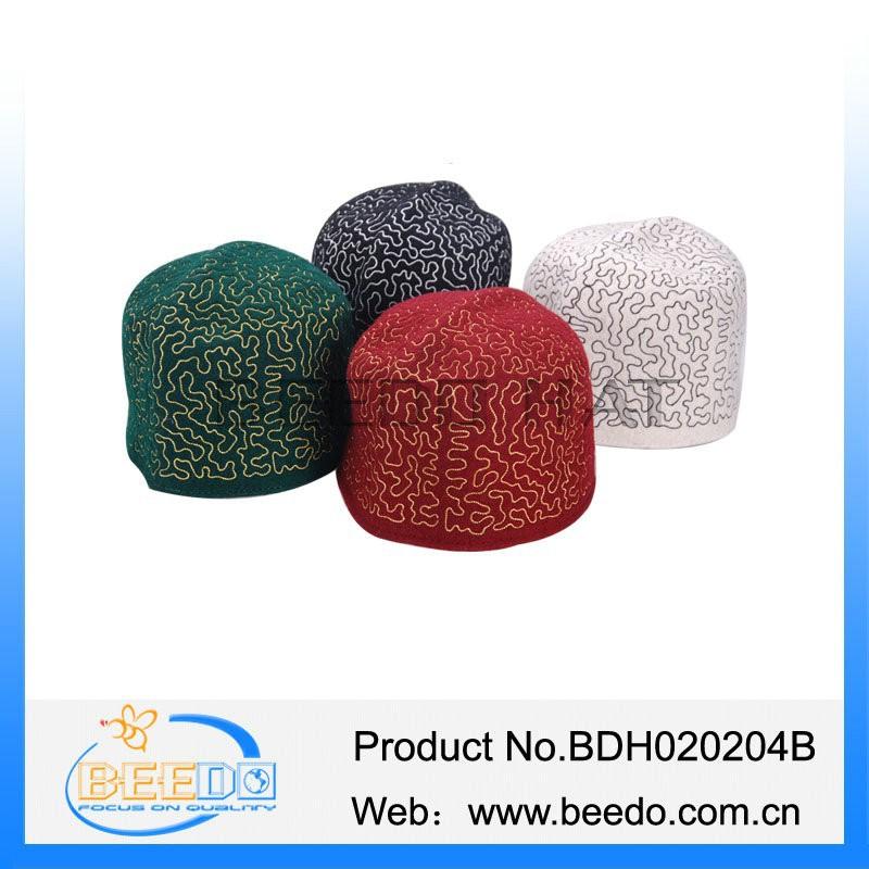 Stylish White Black Knit Kufi Skull Cap Crochet Pattern Buy White