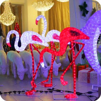 pink flamingo christmas lights garden decoration yard decor - Christmas Flamingos Yard Decorations