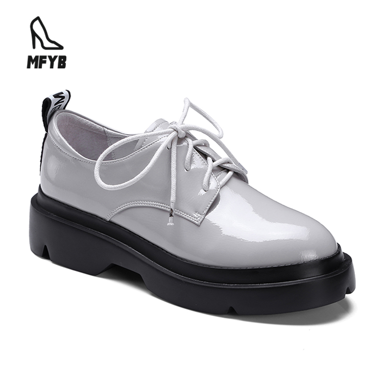 OEM supplied superfine wrinkle paint deep mouth round head 3 colors leather loafers thick sole women casual shoe