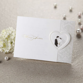 Bride And Groom Horizontal Wedding Invitation Card With Heart Shape ...