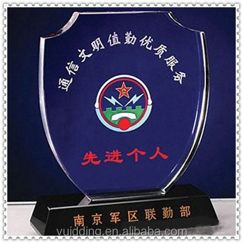 Colored Golden Logo Police Medal Glass Trophy For Government Supply