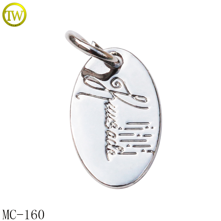Oval shape silver logo metal charms for jewelry adjustable bracelet metal name pendant