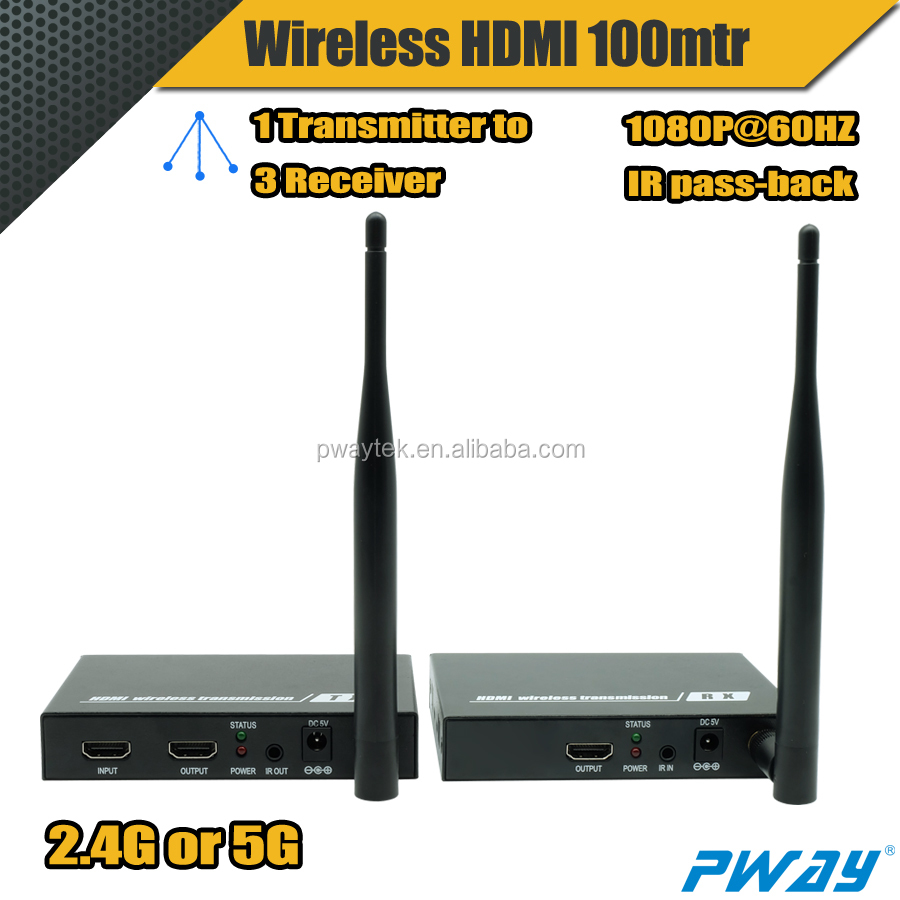 PWAY Wireless HDMI Extender 100m 2.4G or 5G with IR and HDMI Loop-out